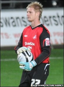 Alan Tate in goal for Swansea City