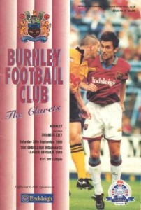 Burnley v Swansea 1995 Programme Cover