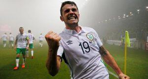 Robbie Brady scores for Ireland