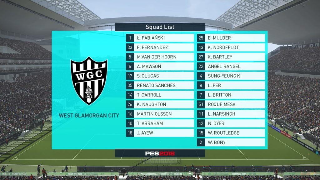 PES 2018 - Swansea City Squad