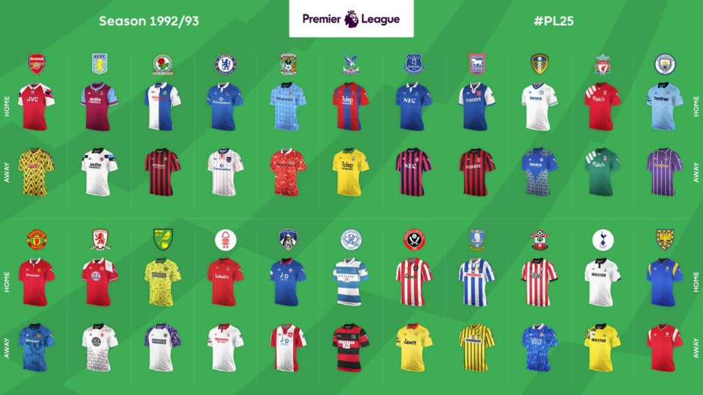 Premier League kits 1992/93