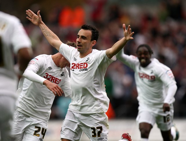 Leon Britton celebrates scoring against Nottingham Forest