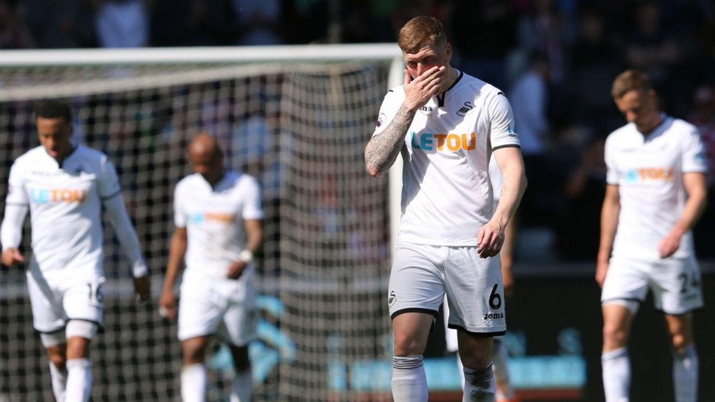 Swansea relegated after Stoke defeat