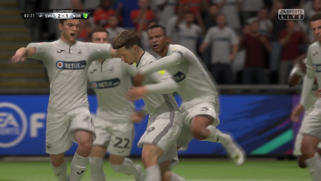 The Swans celebrate a later winner in FIFA 19