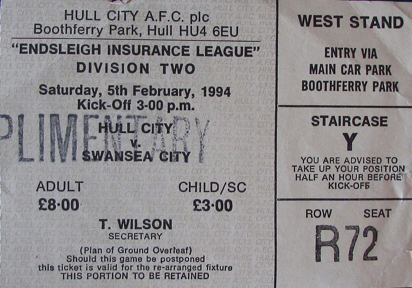 Hull City v Swansea City ticket 1994