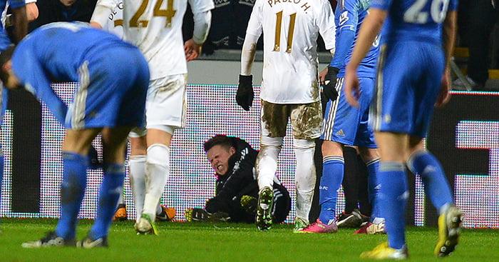 Swansea City ballboy and Eden Hazard