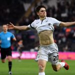 Daniel James celebrates scoring against Brentford