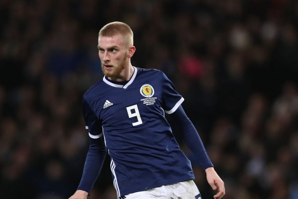 Oli McBurnie playing for Scotland