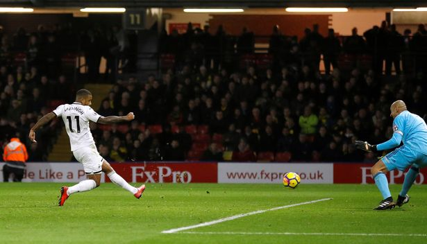 Swansea City's Luciano Narsingh scores against Watford