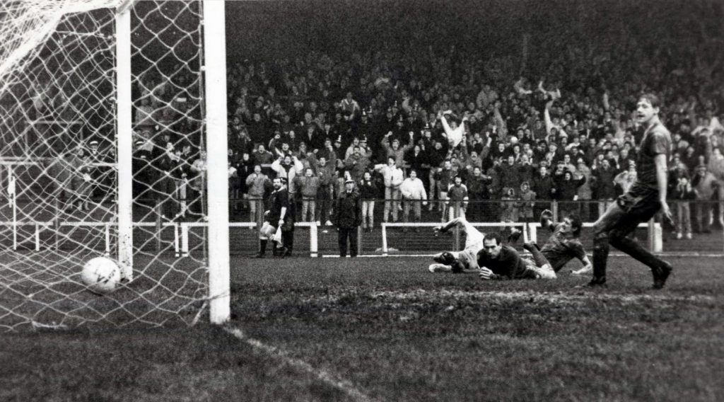 Paul Raynor scores against Cardiff at the Vetch Field in 1987