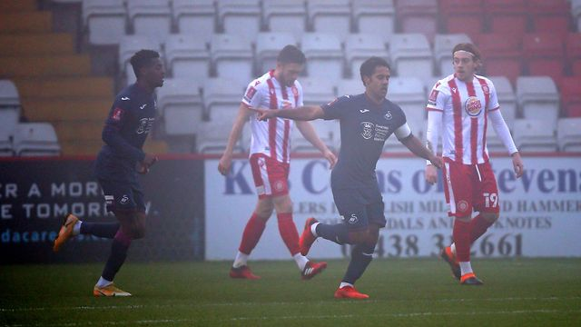 Wayne Routledge opens the scoring at Stevenage