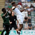 Jamal Lowe in action against Plymouth