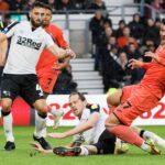 Joel Piroe in action against Derby County